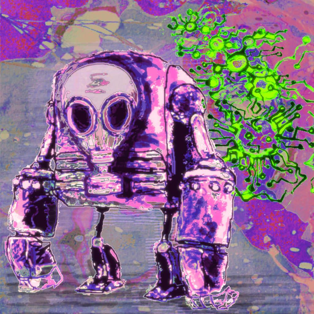 CD-Cover: ein Roboter mit Gasmaske, im Hintergrund lauert ein Virus.